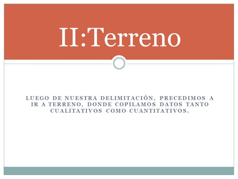 LUEGO DE NUESTRA DELIMITACIÓN, PRECEDIMOS A IR A TERRENO, DONDE COPILAMOS DATOS TANTO CUALITATIVOS COMO CUANTITATIVOS. II:Terreno