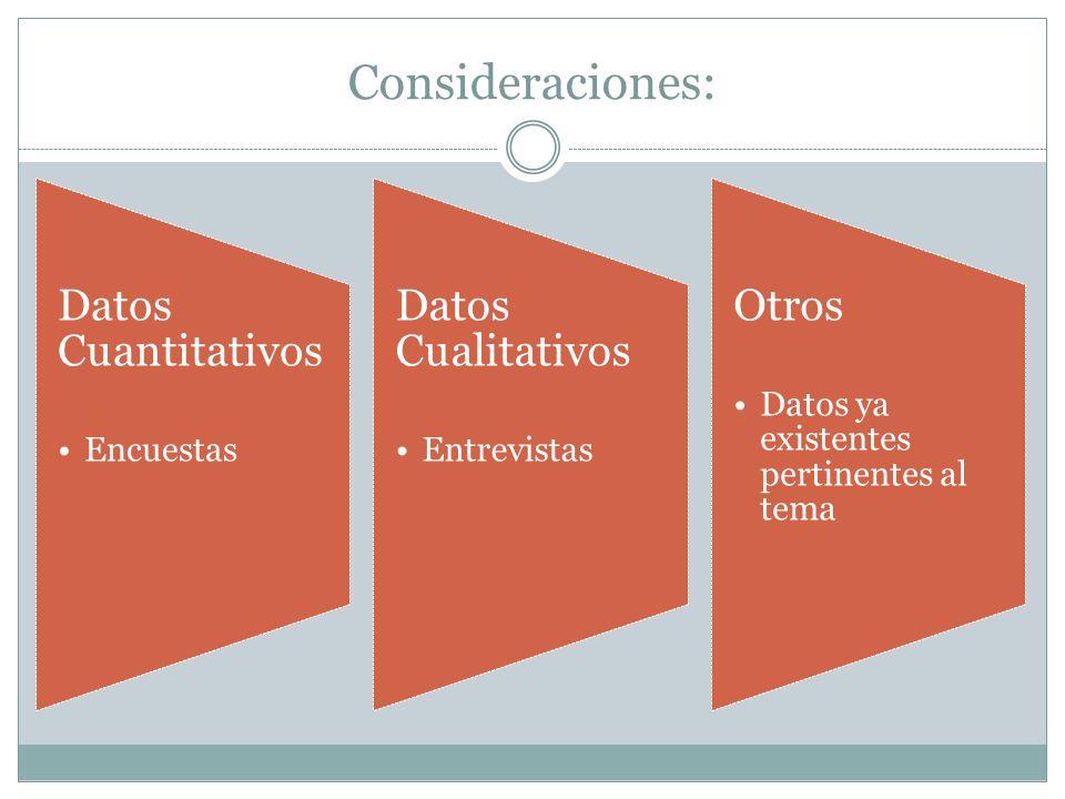 Consideraciones: Datos Cuantitativos Encuestas Datos Cualitativos Entrevistas Otros Datos ya existentes pertinentes al tema