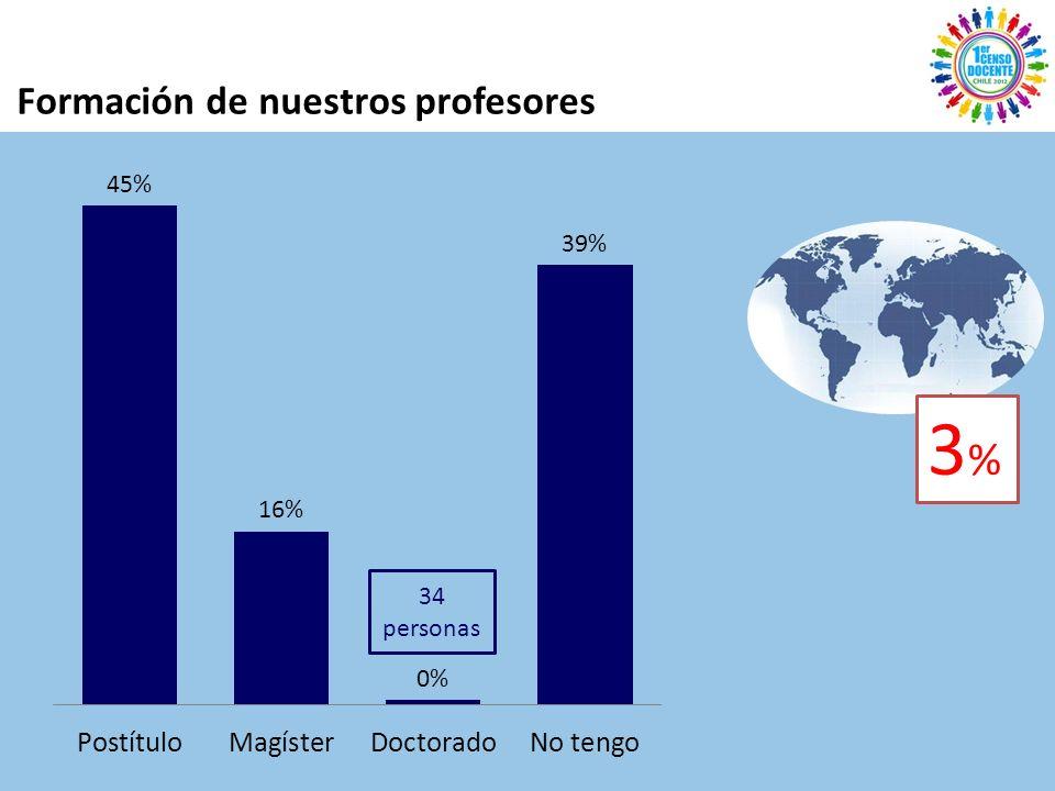 Formación de nuestros profesores 34 personas 3%3%