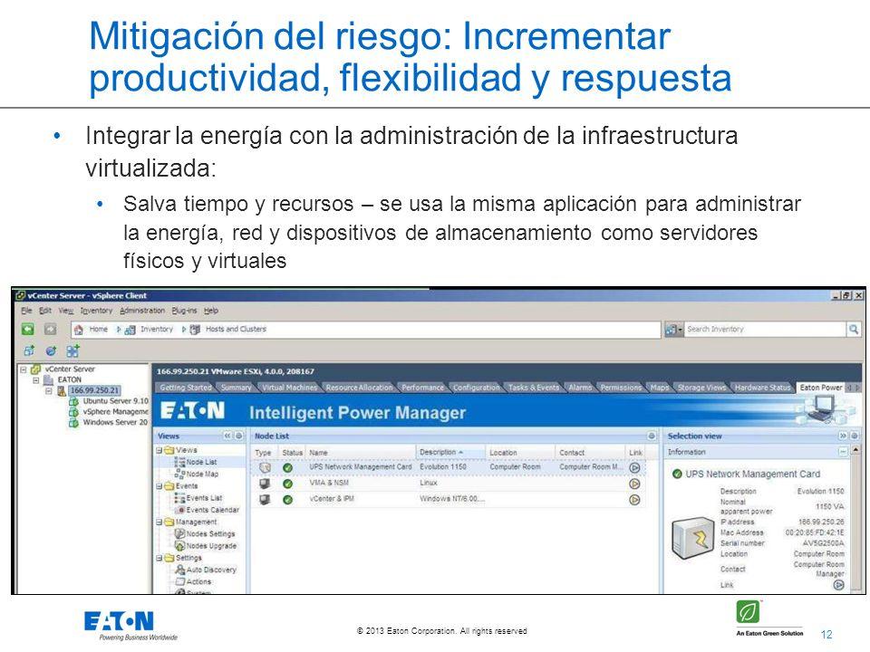 12 © 2013 Eaton Corporation. All rights reserved. Mitigación del riesgo: Incrementar productividad, flexibilidad y respuesta Integrar la energía con l