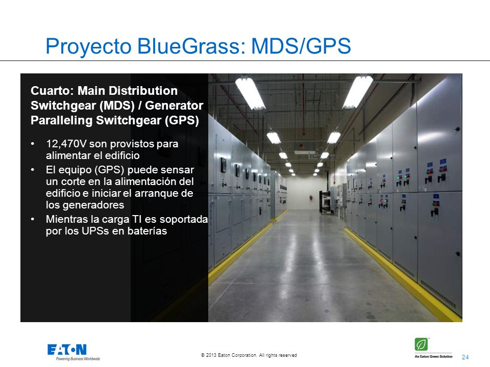 24 © 2013 Eaton Corporation. All rights reserved. Proyecto BlueGrass: MDS/GPS Cuarto: Main Distribution Switchgear (MDS) / Generator Paralleling Switc