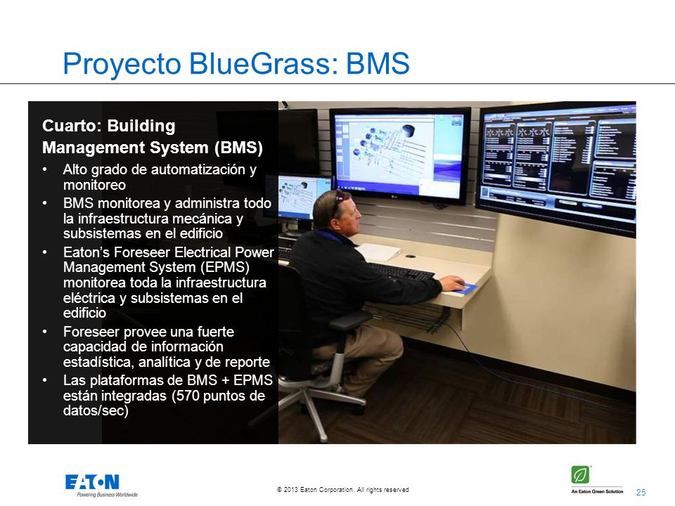 25 © 2013 Eaton Corporation. All rights reserved. Proyecto BlueGrass: BMS Cuarto: Building Management System (BMS) Alto grado de automatización y moni