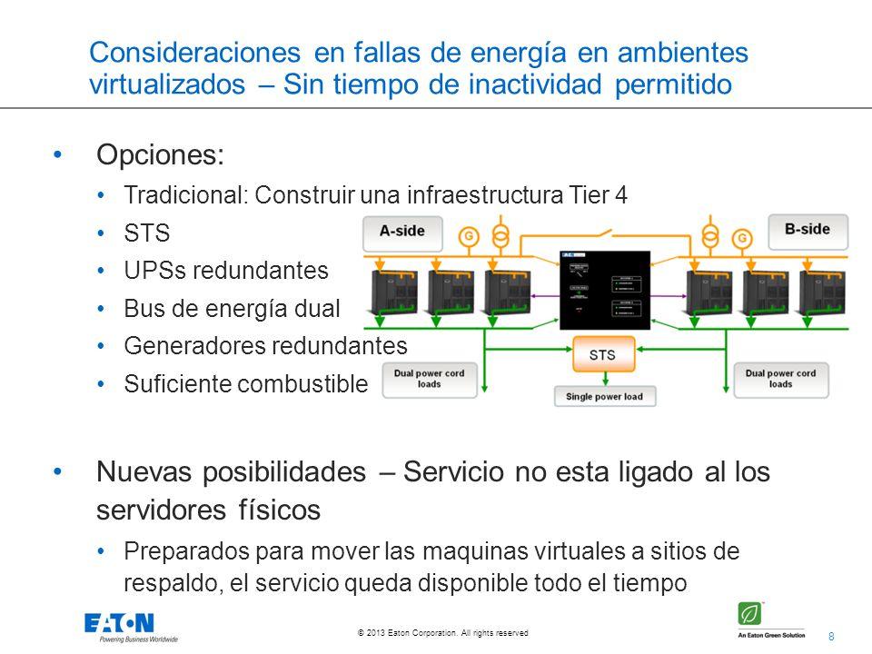 8 © 2013 Eaton Corporation. All rights reserved. Consideraciones en fallas de energía en ambientes virtualizados – Sin tiempo de inactividad permitido