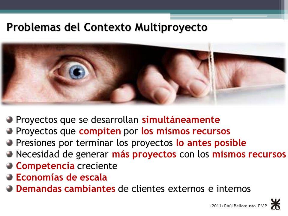 (2011) Raúl Bellomusto, PMP Problemas del Contexto Multiproyecto Proyectos que se desarrollan simultáneamente Proyectos que compiten por los mismos re