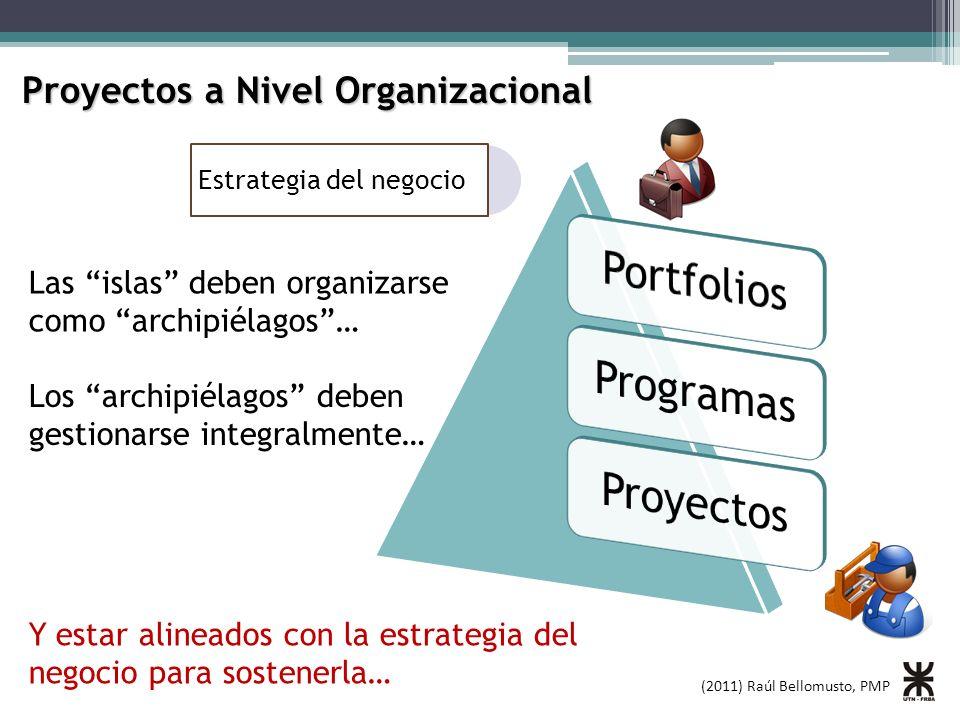 (2011) Raúl Bellomusto, PMP Proyectos a Nivel Organizacional Estrategia del negocio Las islas deben organizarse como archipiélagos… Los archipiélagos
