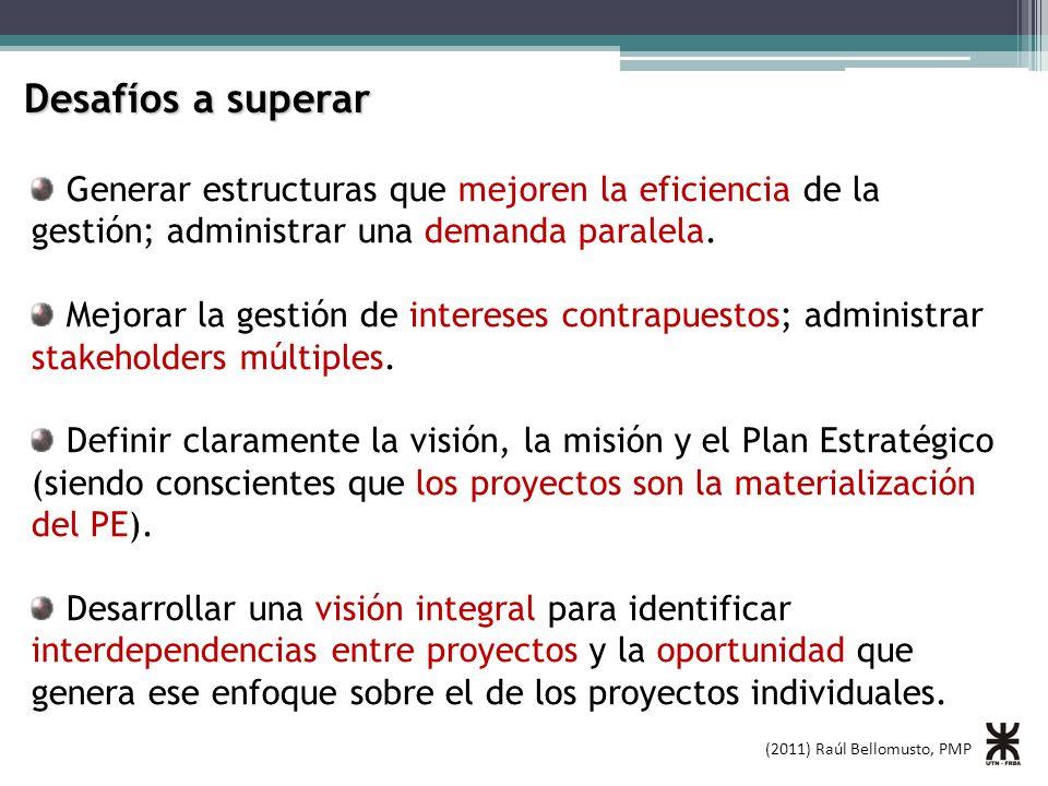 (2011) Raúl Bellomusto, PMP Desafíos a superar Generar estructuras que mejoren la eficiencia de la gestión; administrar una demanda paralela. Mejorar