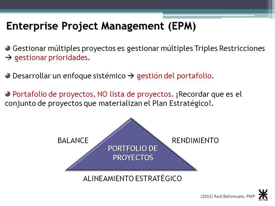 (2011) Raúl Bellomusto, PMP Enterprise Project Management (EPM) Gestionar múltiples proyectos es gestionar múltiples Triples Restricciones gestionar prioridades.