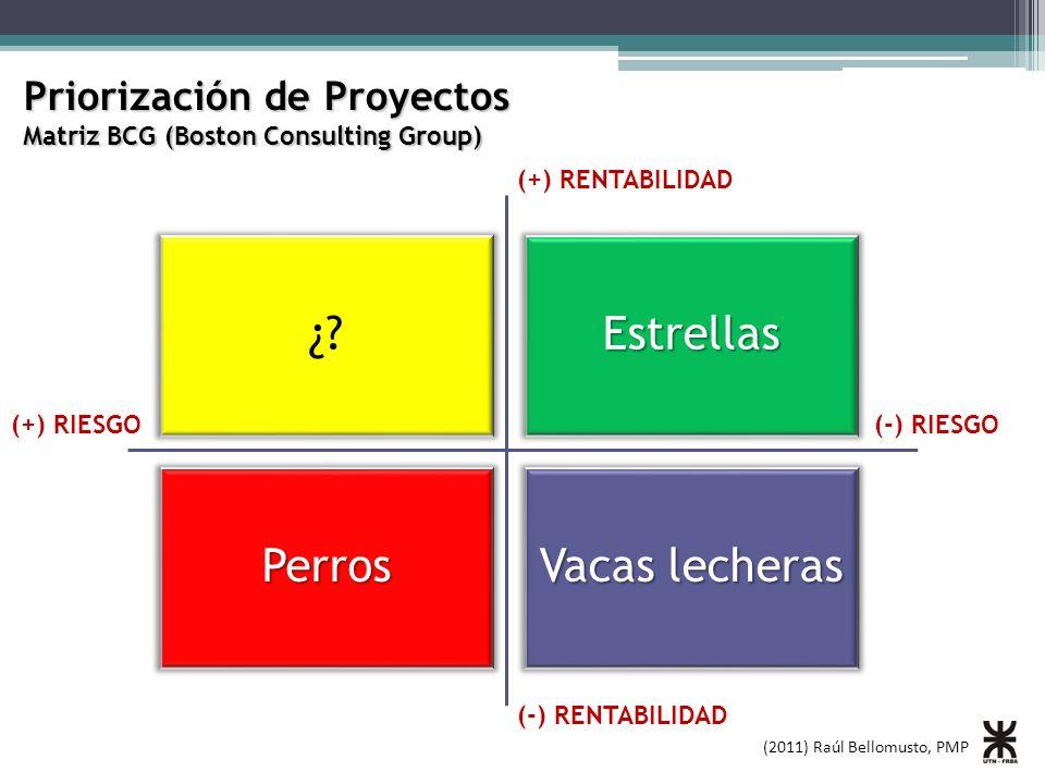(2011) Raúl Bellomusto, PMP Priorización de Proyectos Matriz BCG (Boston Consulting Group) ¿?Estrellas Perros Vacas lecheras (+) RENTABILIDAD (-) RENTABILIDAD (+) RIESGO(-) RIESGO