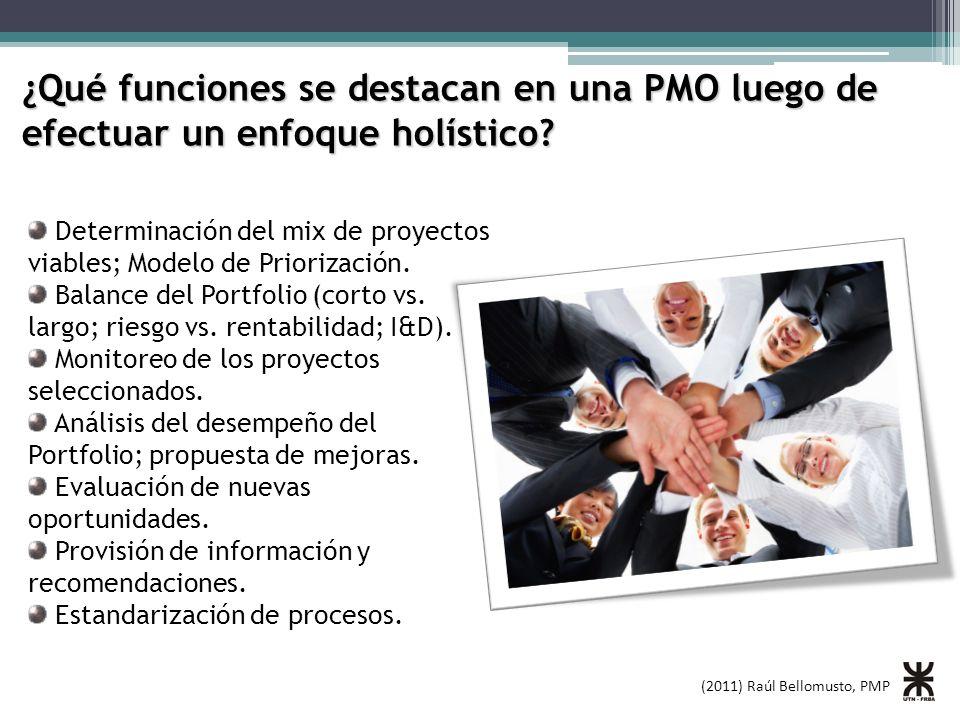 (2011) Raúl Bellomusto, PMP ¿Qué funciones se destacan en una PMO luego de efectuar un enfoque holístico? Determinación del mix de proyectos viables;