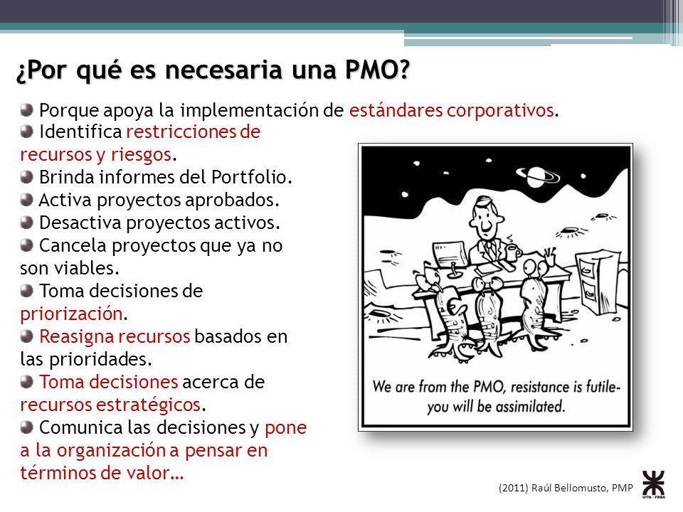 (2011) Raúl Bellomusto, PMP ¿Por qué es necesaria una PMO? Porque apoya la implementación de estándares corporativos. Identifica restricciones de recu