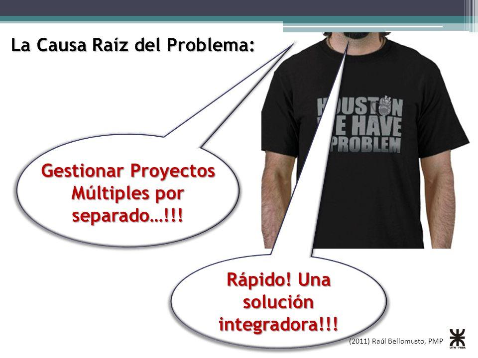 (2011) Raúl Bellomusto, PMP La Causa Raíz del Problema: Gestionar Proyectos Múltiples por separado…!!! Rápido! Una solución integradora!!!