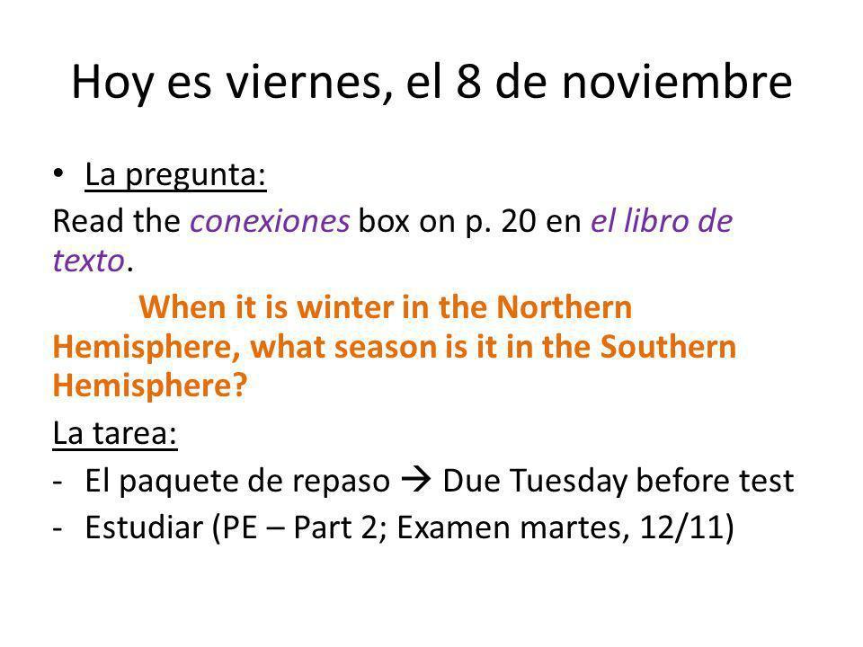 Hoy es viernes, el 8 de noviembre La pregunta: Read the conexiones box on p.