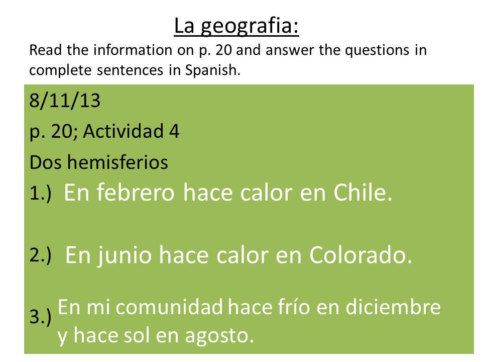 La geografia: Read the information on p.