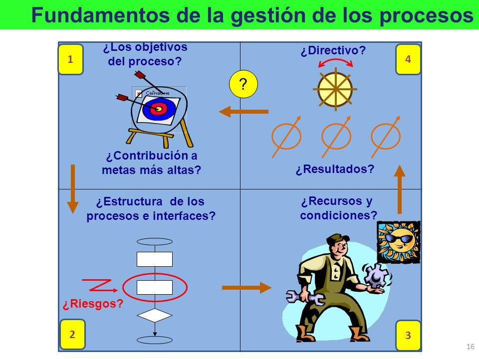 ¿Estructura de los procesos e interfaces? ¿Riesgos? ¿Los objetivos del proceso? ¿Contribución a metas más altas? ¿Recursos y condiciones? ¿Resultados?