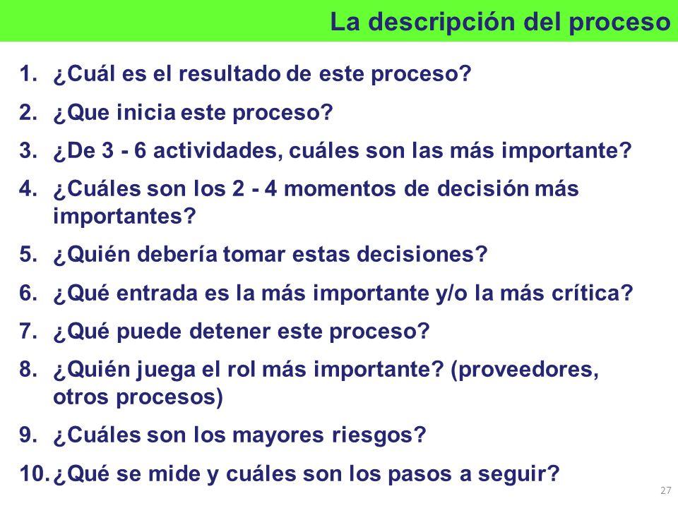 1.¿Cuál es el resultado de este proceso? 2.¿Que inicia este proceso? 3.¿De 3 - 6 actividades, cuáles son las más importante? 4.¿Cuáles son los 2 - 4 m