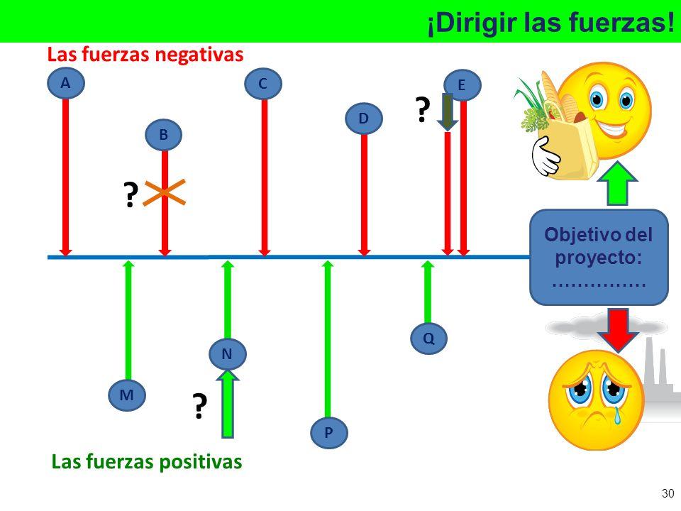 ¡Dirigir las fuerzas! Objetivo del proyecto: …………… A B C D E M N P Q ? ? ? Las fuerzas negativas Las fuerzas positivas 30