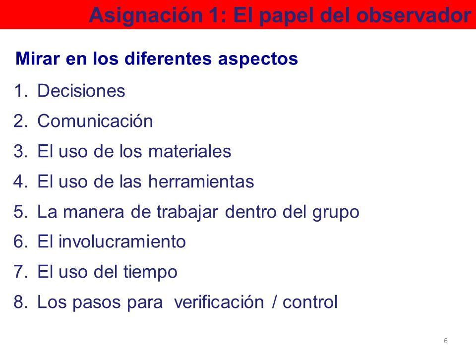 1.Decisiones 2.Comunicación 3.El uso de los materiales 4.El uso de las herramientas 5.La manera de trabajar dentro del grupo 6.El involucramiento 7.El
