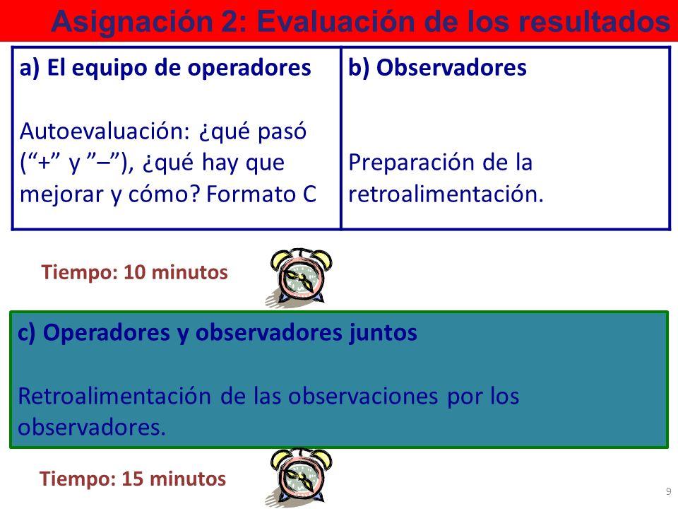 Asignación 2: Evaluación de los resultados c) Operadores y observadores juntos Retroalimentación de las observaciones por los observadores. 9 a) El eq