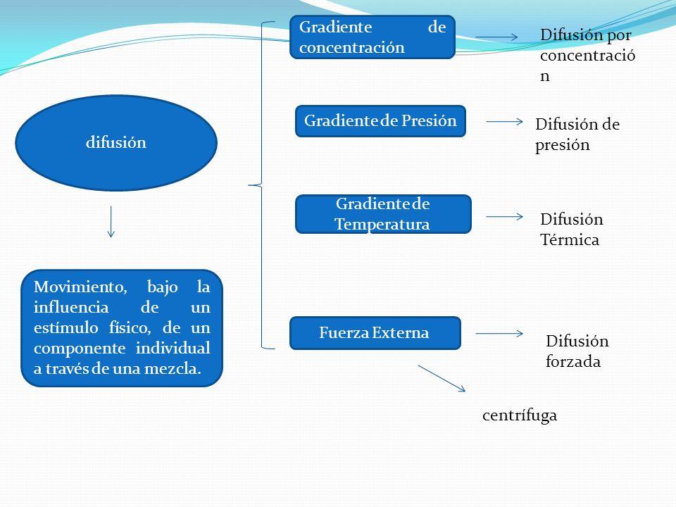 difusión Movimiento, bajo la influencia de un estímulo físico, de un componente individual a través de una mezcla. Gradiente de concentración Gradient