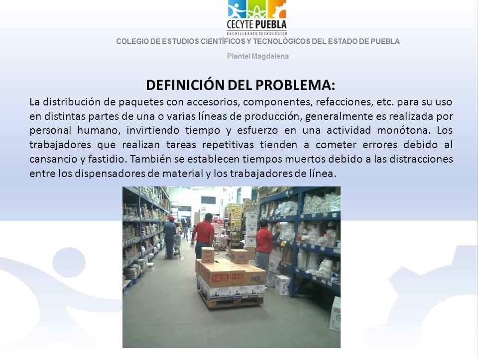 DEFINICIÓN DEL PROBLEMA: La distribución de paquetes con accesorios, componentes, refacciones, etc. para su uso en distintas partes de una o varias lí