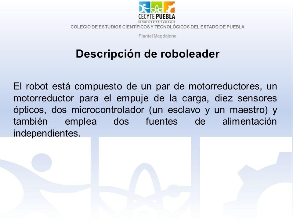Descripción de roboleader El robot está compuesto de un par de motorreductores, un motorreductor para el empuje de la carga, diez sensores ópticos, do