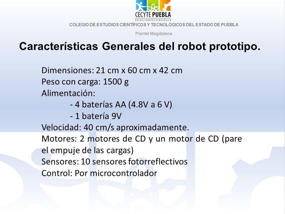 Dimensiones: 21 cm x 60 cm x 42 cm Peso con carga: 1500 g Alimentación: - 4 baterías AA (4.8V a 6 V) - 1 batería 9V Velocidad: 40 cm/s aproximadamente