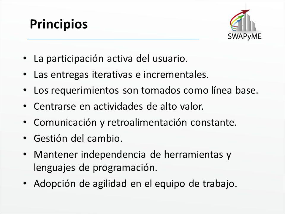 Principios La participación activa del usuario. Las entregas iterativas e incrementales. Los requerimientos son tomados como línea base. Centrarse en