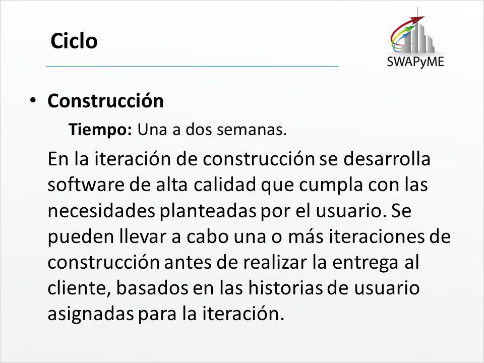Ciclo Construcción Tiempo: Una a dos semanas. En la iteración de construcción se desarrolla software de alta calidad que cumpla con las necesidades pl