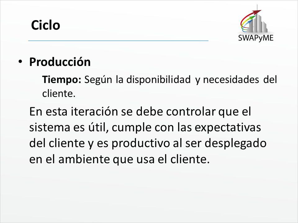 Ciclo Producción Tiempo: Según la disponibilidad y necesidades del cliente. En esta iteración se debe controlar que el sistema es útil, cumple con las