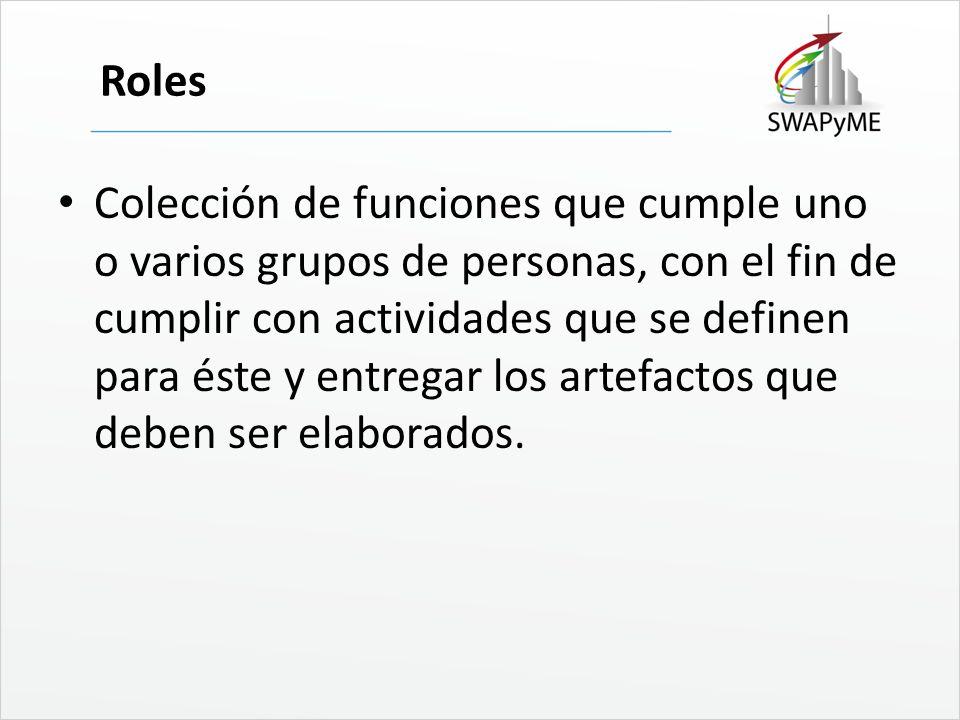 Roles Colección de funciones que cumple uno o varios grupos de personas, con el fin de cumplir con actividades que se definen para éste y entregar los