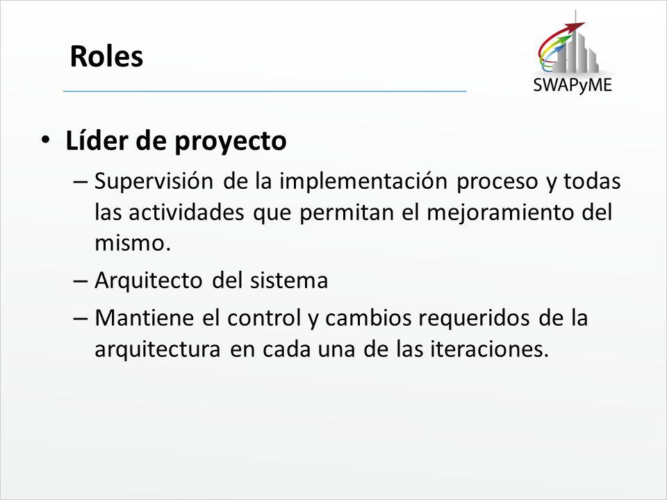 Roles Líder de proyecto – Supervisión de la implementación proceso y todas las actividades que permitan el mejoramiento del mismo. – Arquitecto del si