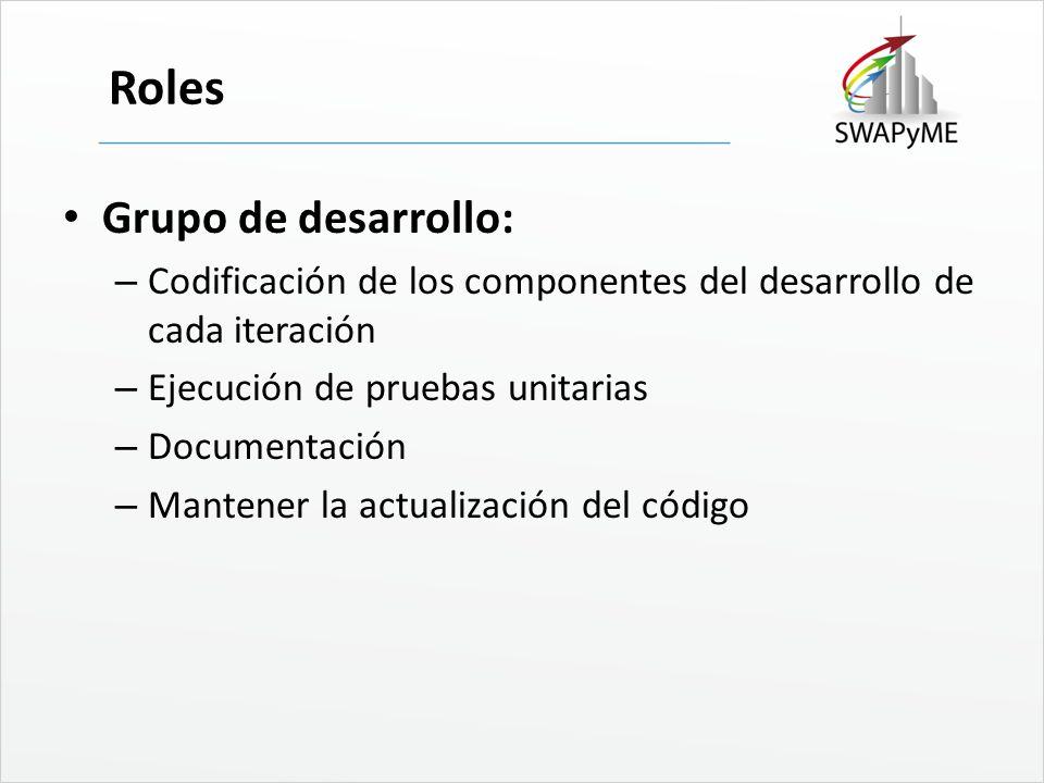 Roles Grupo de desarrollo: – Codificación de los componentes del desarrollo de cada iteración – Ejecución de pruebas unitarias – Documentación – Mante