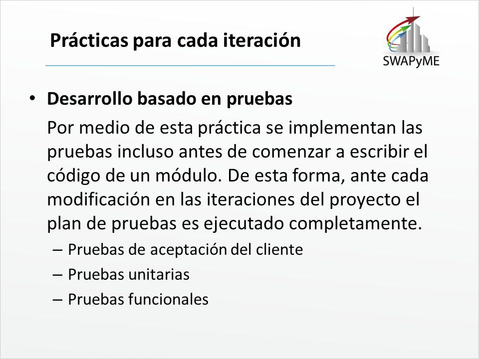 Prácticas para cada iteración Desarrollo basado en pruebas Por medio de esta práctica se implementan las pruebas incluso antes de comenzar a escribir