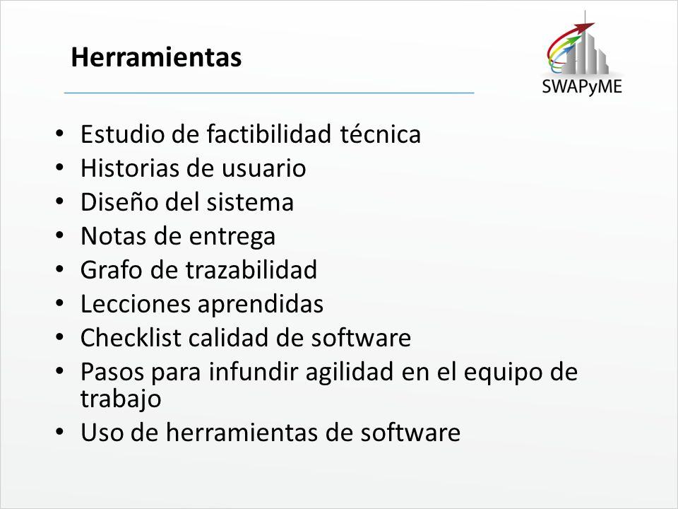 Herramientas Estudio de factibilidad técnica Historias de usuario Diseño del sistema Notas de entrega Grafo de trazabilidad Lecciones aprendidas Check