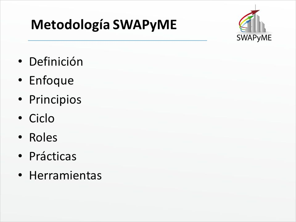 Metodología SWAPyME Definición Enfoque Principios Ciclo Roles Prácticas Herramientas