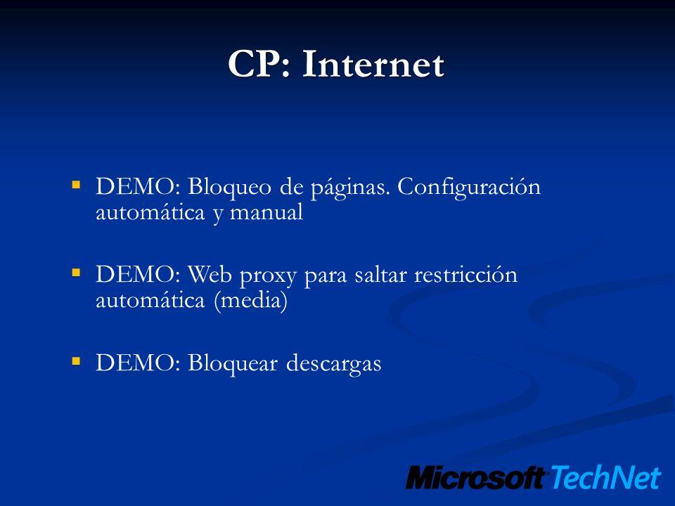 DEMO: Bloqueo de páginas. Configuración automática y manual DEMO: Web proxy para saltar restricción automática (media) DEMO: Bloquear descargas