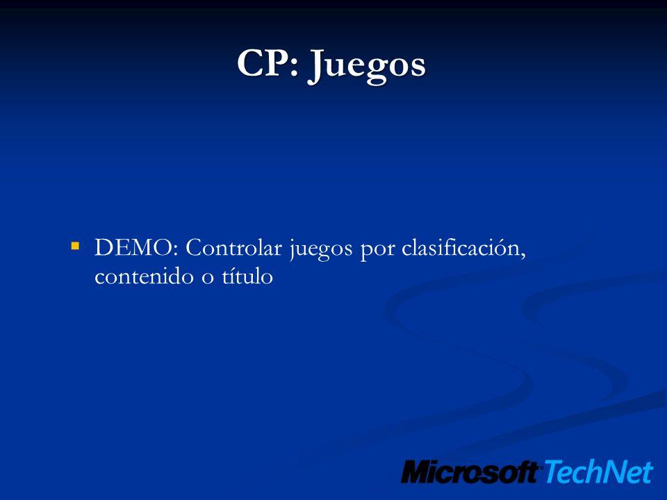 CP: Juegos DEMO: Controlar juegos por clasificación, contenido o título