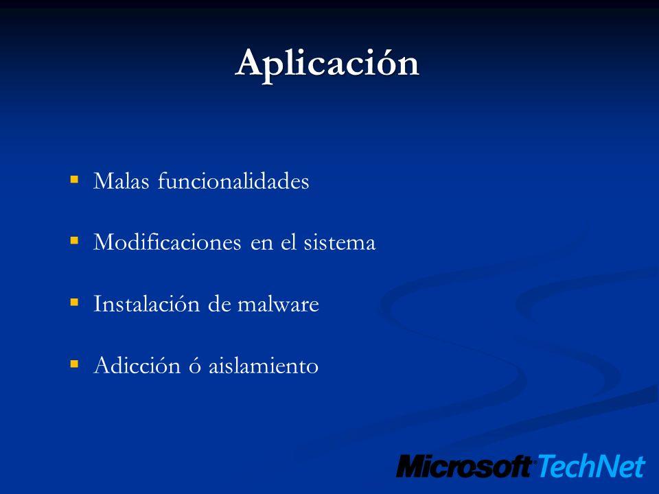 Aplicación Malas funcionalidades Modificaciones en el sistema Instalación de malware Adicción ó aislamiento