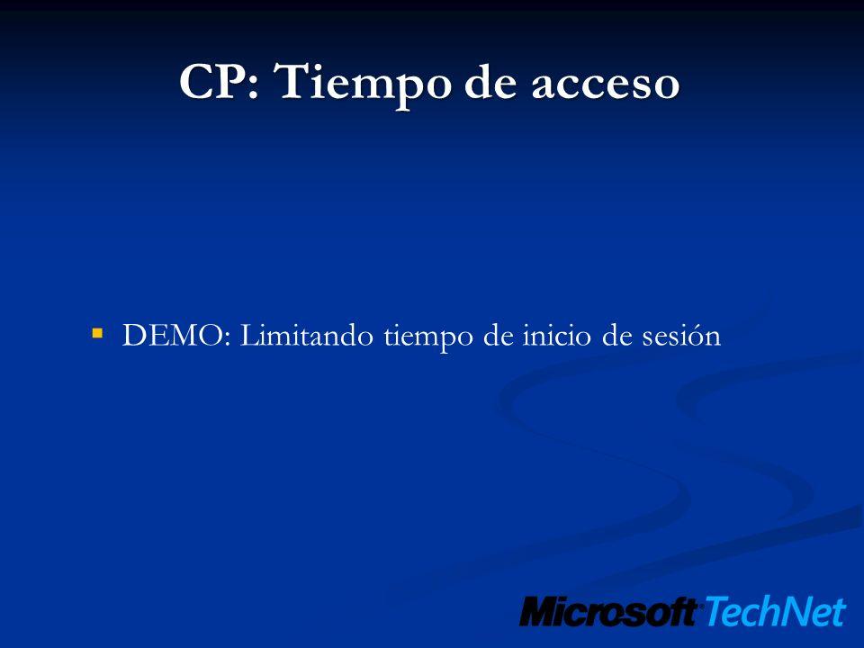 CP: Tiempo de acceso DEMO: Limitando tiempo de inicio de sesión