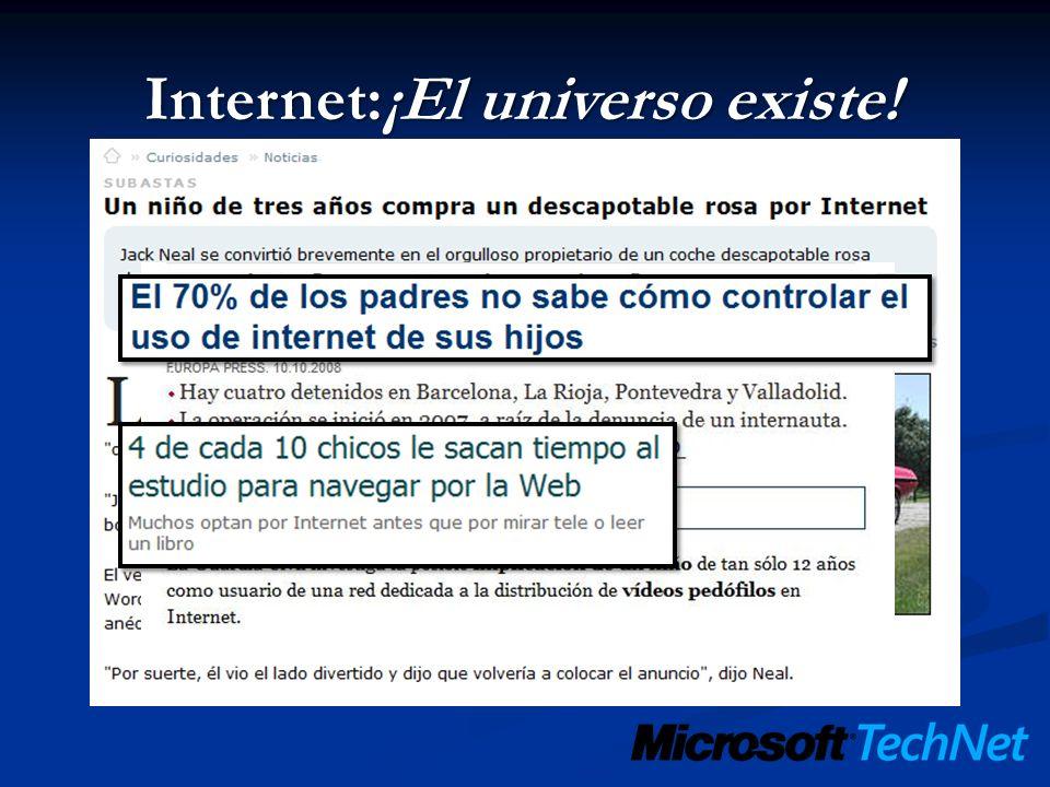CP: Internet Restricción en páginas Web: Automática: Alto, medio, ninguno y personalizado.