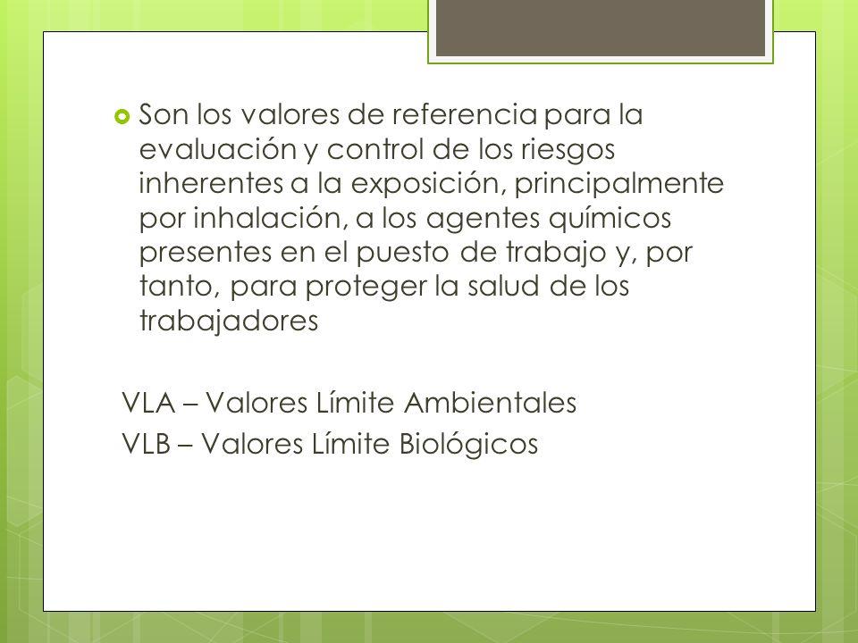 Son los valores de referencia para la evaluación y control de los riesgos inherentes a la exposición, principalmente por inhalación, a los agentes quí