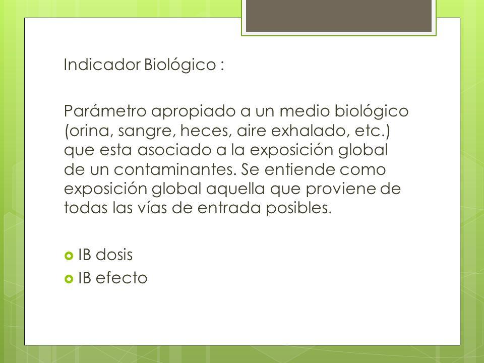 Indicador Biológico : Parámetro apropiado a un medio biológico (orina, sangre, heces, aire exhalado, etc.) que esta asociado a la exposición global de un contaminantes.