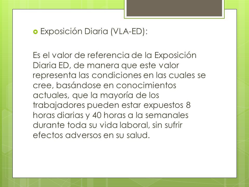 Exposición Diaria (VLA-ED): Es el valor de referencia de la Exposición Diaria ED, de manera que este valor representa las condiciones en las cuales se
