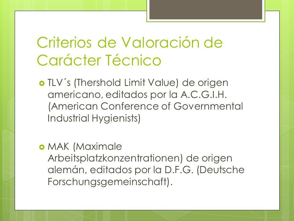 Criterios de Valoración de Carácter Técnico TLV´s (Thershold Limit Value) de origen americano, editados por la A.C.G.I.H. (American Conference of Gove