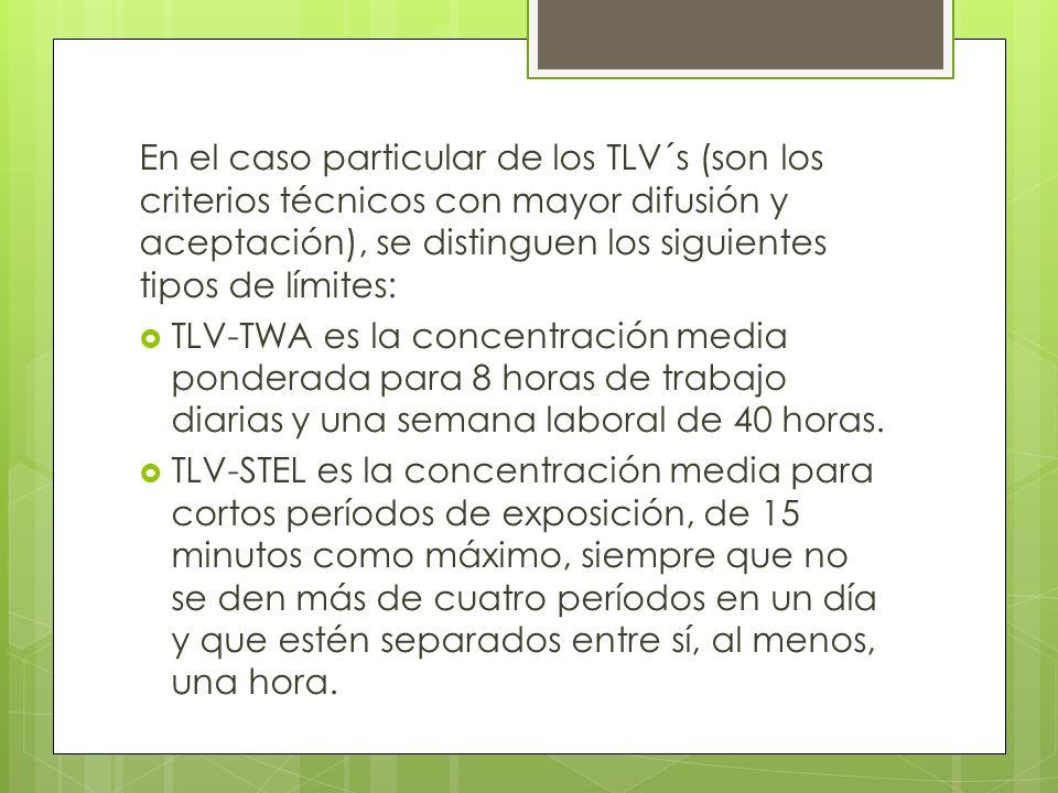 En el caso particular de los TLV´s (son los criterios técnicos con mayor difusión y aceptación), se distinguen los siguientes tipos de límites: TLV-TW