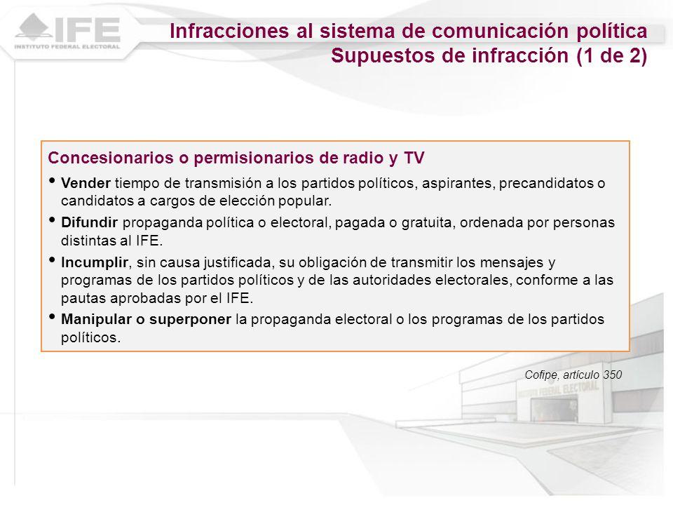 Concesionarios o permisionarios de radio y TV Vender tiempo de transmisión a los partidos políticos, aspirantes, precandidatos o candidatos a cargos d