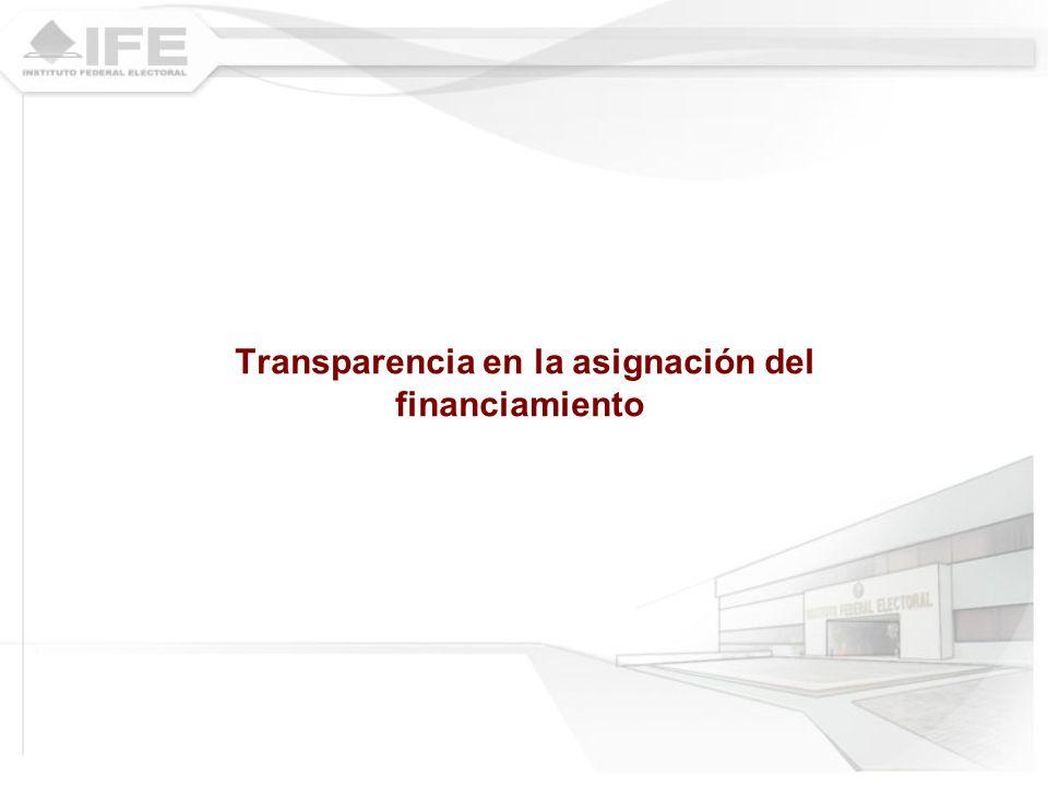 Transparencia en la asignación del financiamiento
