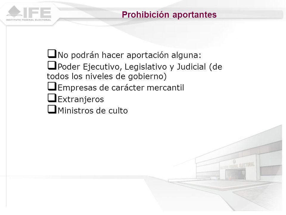 Prohibición aportantes No podrán hacer aportación alguna: Poder Ejecutivo, Legislativo y Judicial (de todos los niveles de gobierno) Empresas de carác