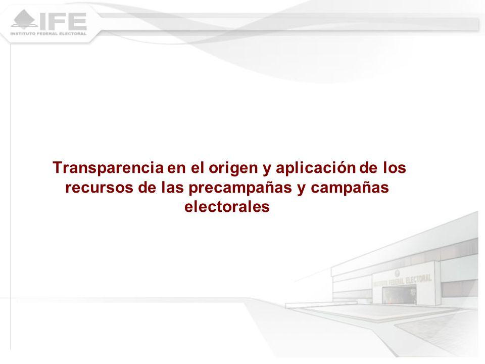 Transparencia en el origen y aplicación de los recursos de las precampañas y campañas electorales