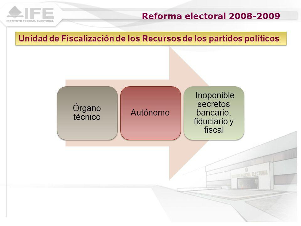 Reforma electoral 2008-2009 Órgano técnico Autónomo Inoponible secretos bancario, fiduciario y fiscal Unidad de Fiscalización de los Recursos de los p